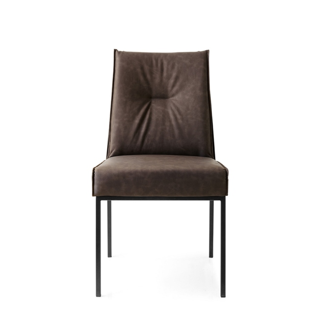 Calligaris Romy - CS/1908-V Dining Chair In S0C Ebony Fabric With P15 Matt Black Frame