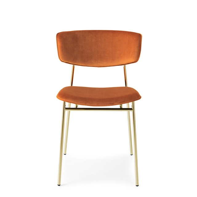 Calligaris Fifties - CS/1854 Dining Chair In S0K Brick Red With P175 Polished Brass Frame
