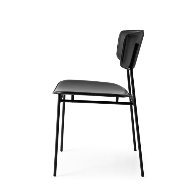 Calligaris Fifties - CS/1854-LH Dining Chair In 399 Black Leather With P15 Matt Black Frame