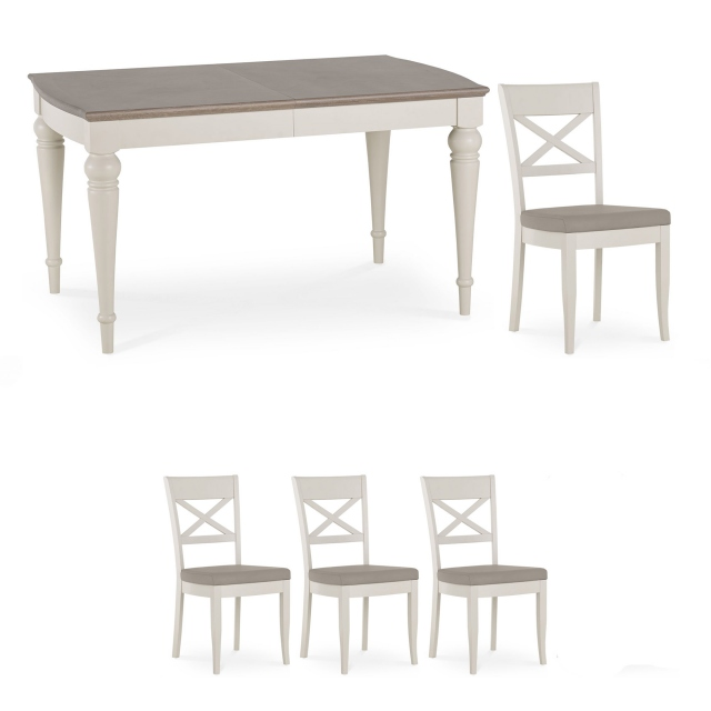 Chateau - 140cm Extending Table & 4 X Back Chairs In Grey Washed Oak & Soft Grey