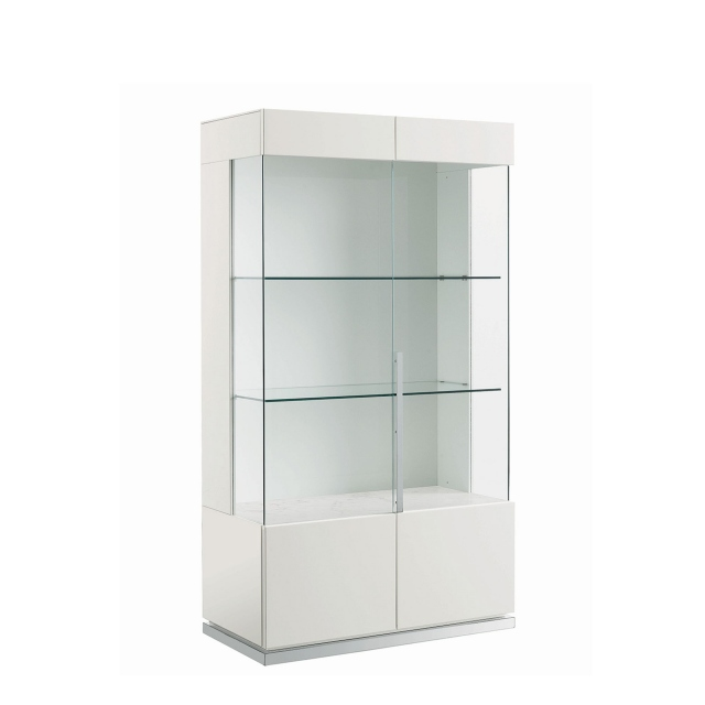 Bernini 2 Door Curio Cabinet White High Gloss Display Cabinets