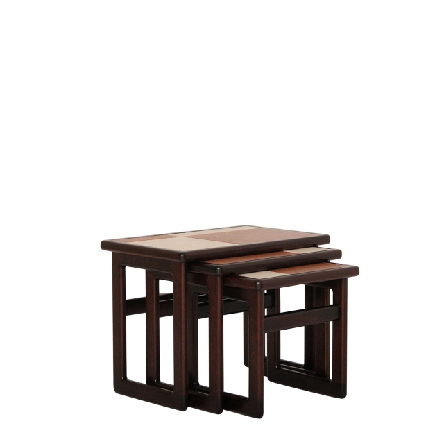 Porte - Small Nest Of 3 Tables Brick/White Tile Top In Stained Mahogany Finish