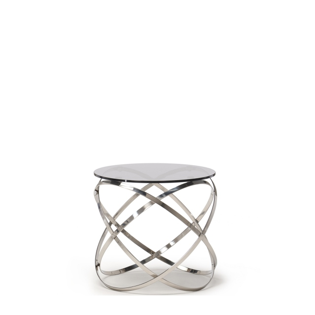 Renata - Lamp Table With Grey Glass Top & Stainless Steel Base