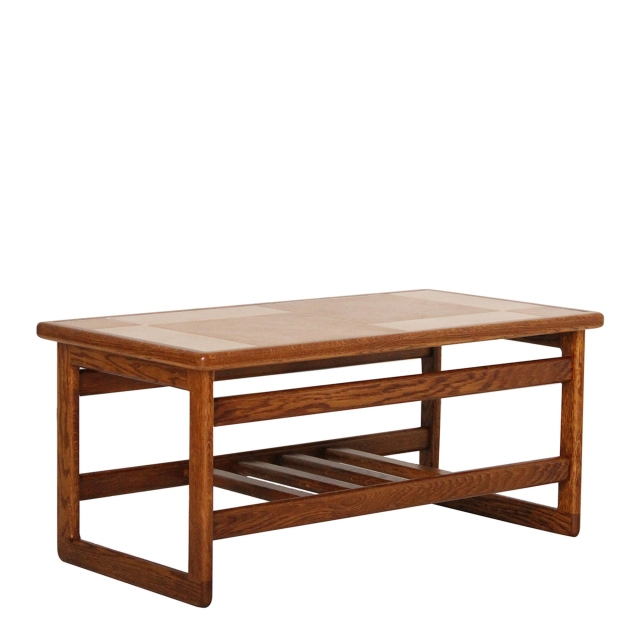 Arcadia - Small Coffee Table Amber/White Tile Top In Medium Oak Finish