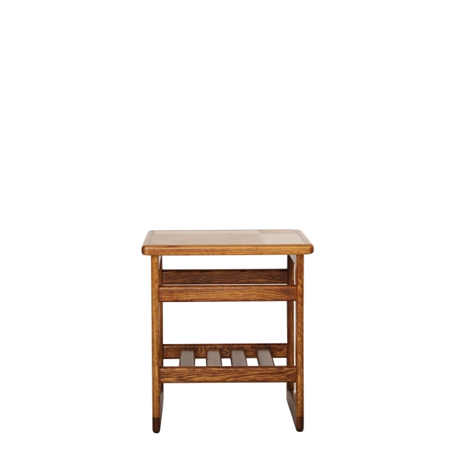 Arcadia - Lamp Table Amber/White Tile Top In Medium Oak Finish
