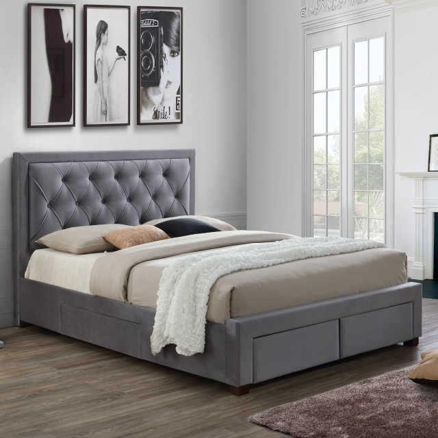 Lumburn - Slatted Storage Bed Frame In Grey Fabric