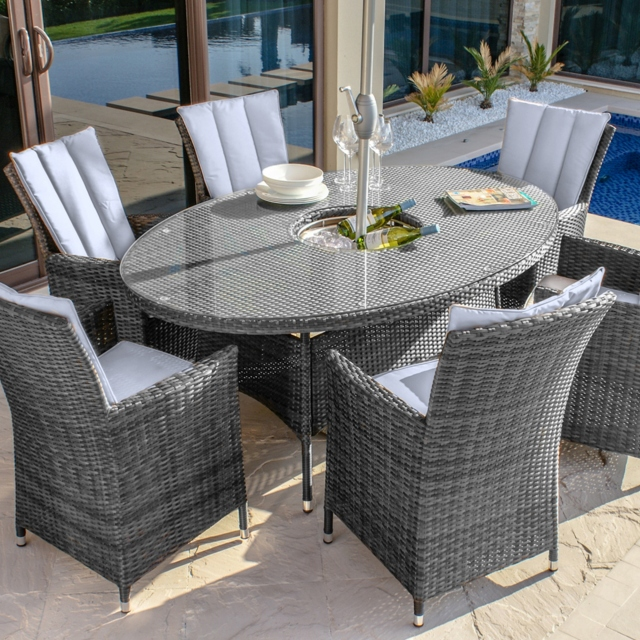 Margarita - 6 Seat Oval Garden Dining Set with Ice Bucket - Grey Rattan Plus Free Lazy Susan