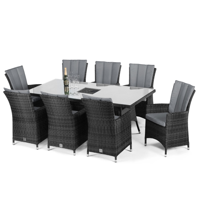 Margarita - 8 Seat Rectangle Garden Dining Set with Ice Bucket - Grey Rattan