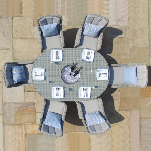 Oyster Bay - 6 Seat Oval Garden Dining Set with Ice Bucket- Light Grey Rattan Plus Lazy Susan