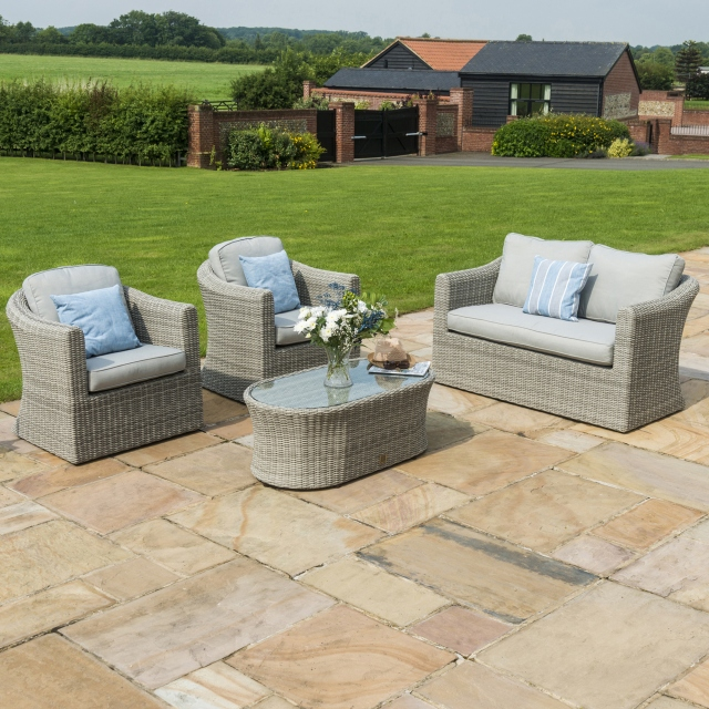 Oyster Bay - 2 Seat Sofa Light Grey Rattan Garden Set