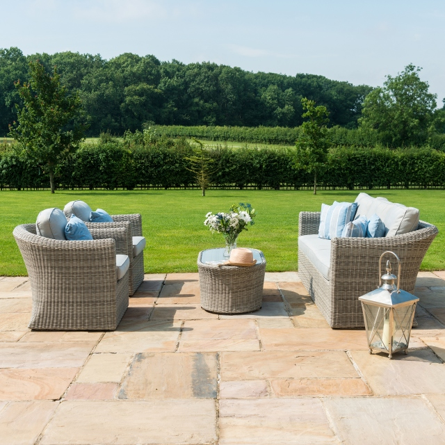 Oyster Bay - 3 Seat Sofa Light Grey Rattan Garden Set