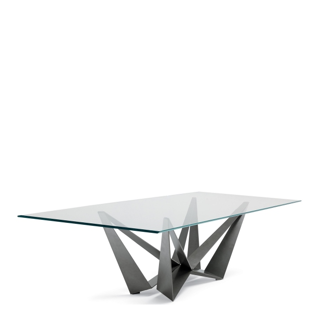 Cattelan Italia Skorpio Glass - Dining Table With Clear Glass Top & Graphite Base