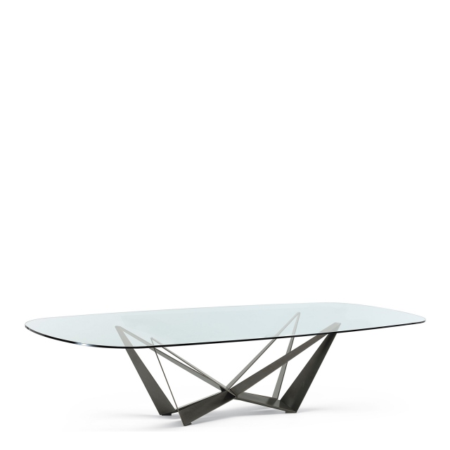 Cattelan Italia Skorpio Glass - D End Dining Table With Clear Glass Top & Graphite Base