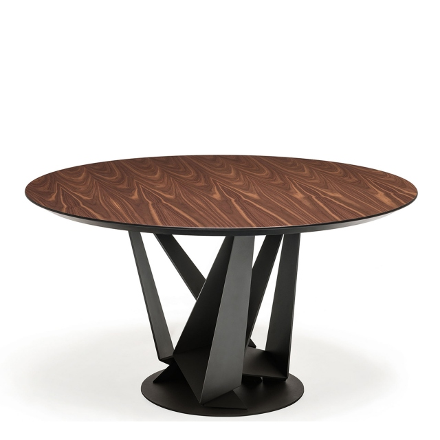 Cattelan Italia Skorpio Round - Dining Table With Black Legs & Burned Oak Top