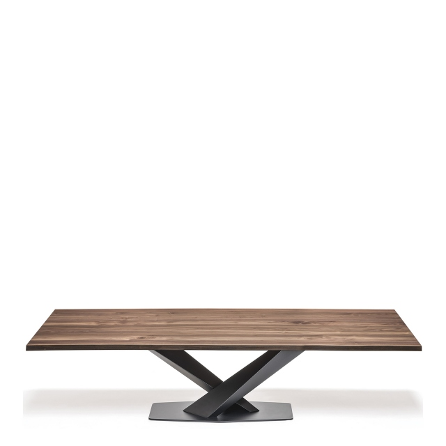 Cattelan Italia Stratos Wood - Dining Table With Black Legs & Walnut Top