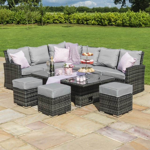 Mauritius - Corner Dining with Rising Table Grey Rattan Garden Set