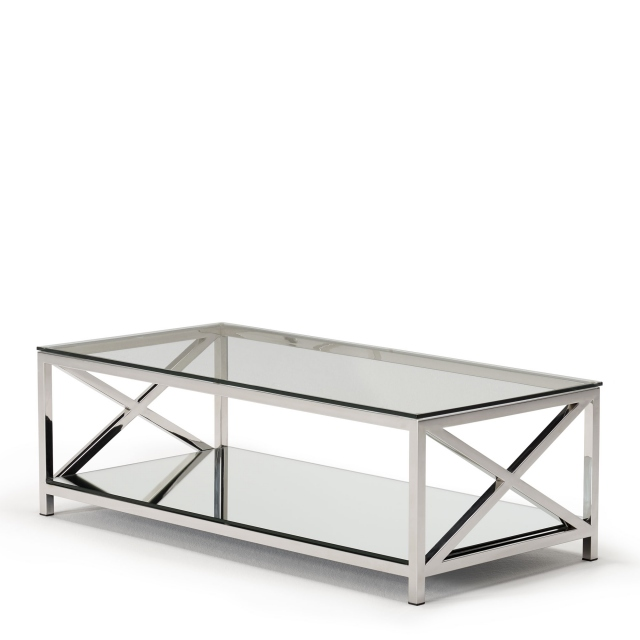 Lucia - Coffee Table With Glass Top & Stainless Steel Frame