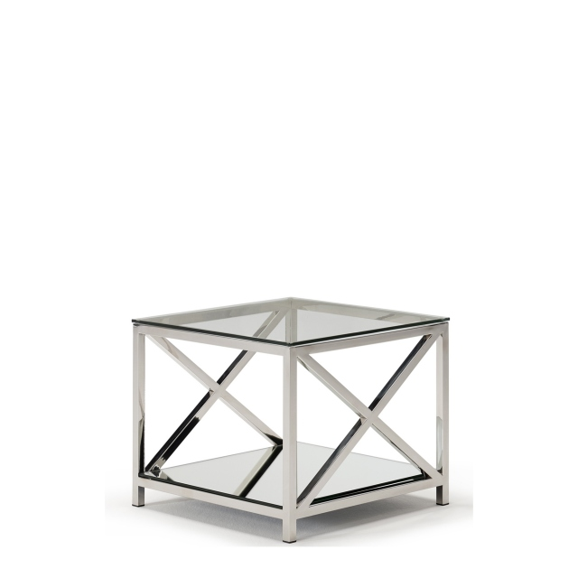 Lucia - Lamp Table With Glass Top & Stainless Steel Frame