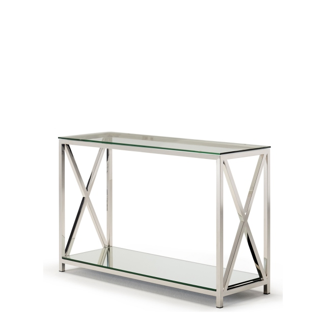 Lucia - Console Table With Glass Top & Stainless Steel Frame