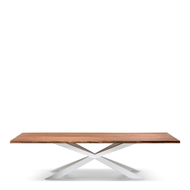 Cattelan Italia Spyder Wood - Dining Table Walnut Canaletto Top & Stainless Steel Base