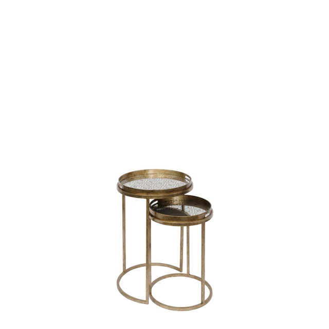 Danube - Set Of 2 Side Tables In Antique Gold