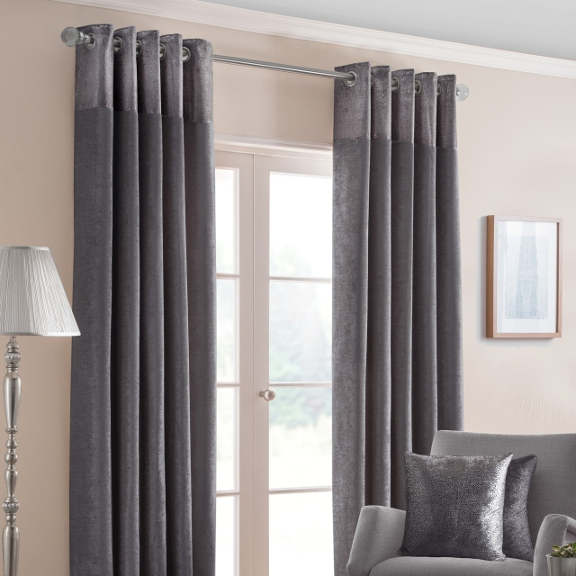 Nova Pewter - Pair of Eyelet Curtains