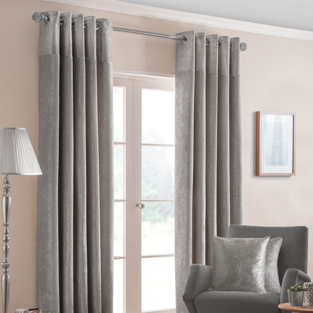 Nova Silver - Pair of Eyelet Curtains