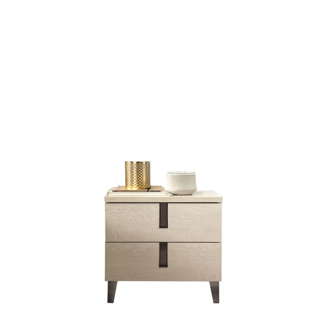 Venice - Mini Night Table 2 Drawers High Gloss Cream Lacquer
