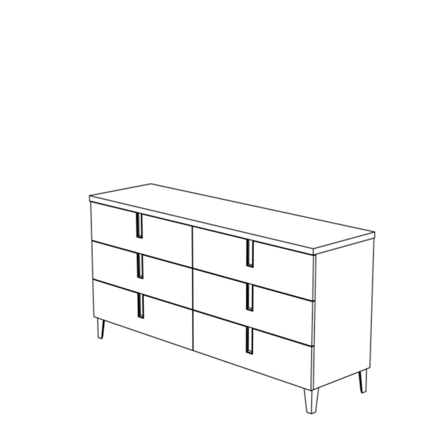 Venice - Double Dresser 6 Drawers High Gloss Cream Lacquer