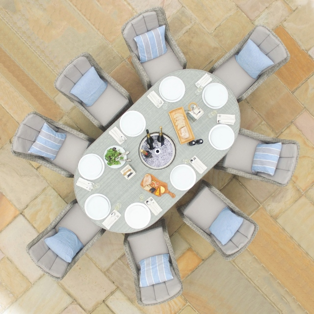 Oyster Bay - 8 Seat Oval Garden Dining Set with Ice Bucket - Light Grey Rattan Plus Lazy Susan