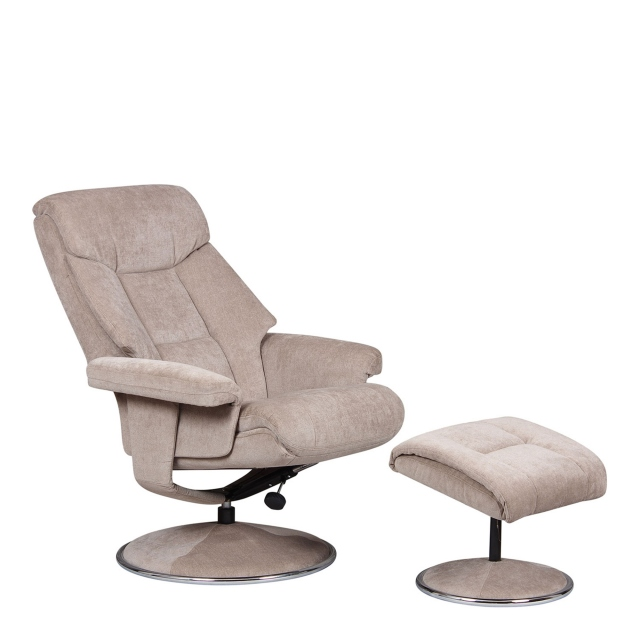 Orion - Swivel Chair And Stool In Lisbon Grey Fabric