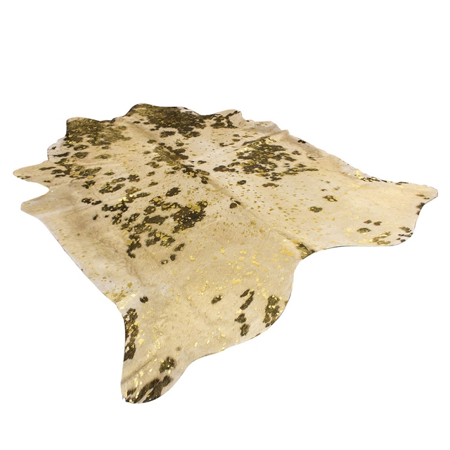Cowhide Rug Gold Metallic