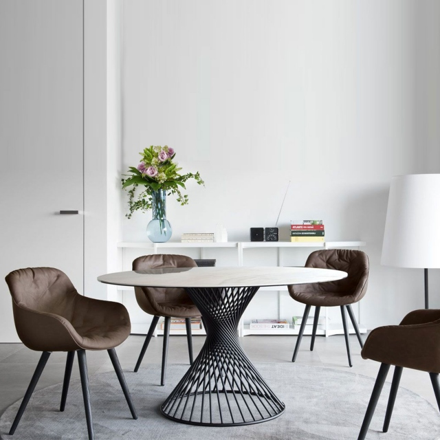 Calligaris Vortex - CS/4108-RD 140cm ? Dining Table With White Marble Top And Matt Black Frame