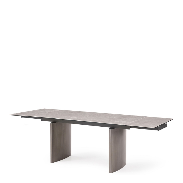 Barcelona - 160cm Extending Dining Table Grey Gloss Ceramic Top