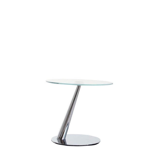 Harry - Lamp Table In Glass B/08 Extra Light Top With 37 Chrome Advanced Base & 37 Chrome Supports