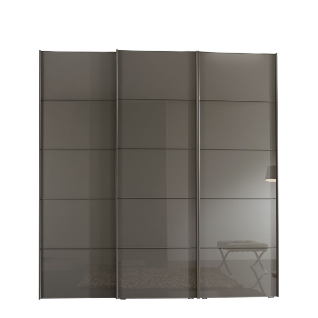 Hilton - 280cm Sliding-Door Wardrobe With 3 Glass Doors In Havana Finish