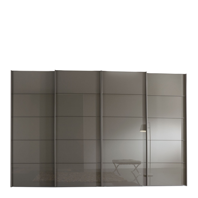 Hilton - 400cm Sliding-Door Wardrobe With 4 Glass Doors In Havana Finish