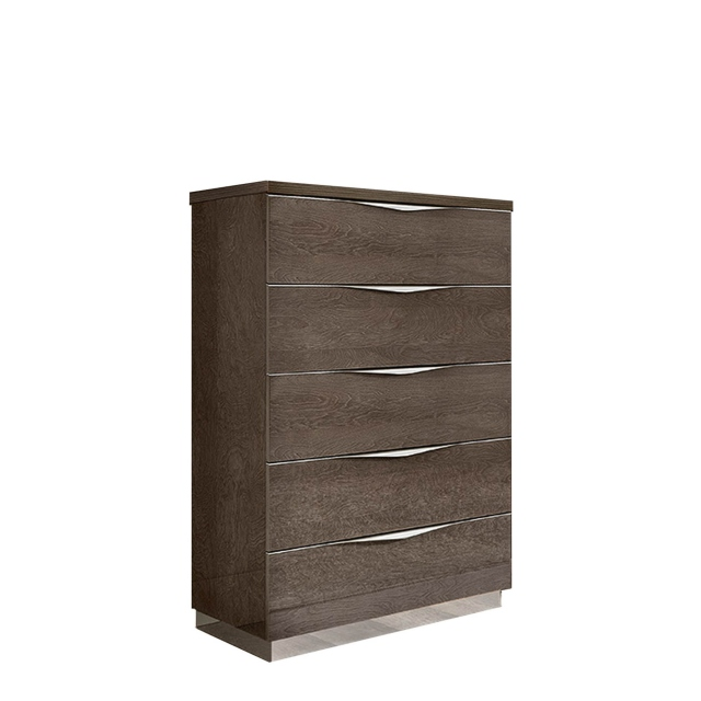 Treviso - Tallboy 5 Drawers Silver Grey
