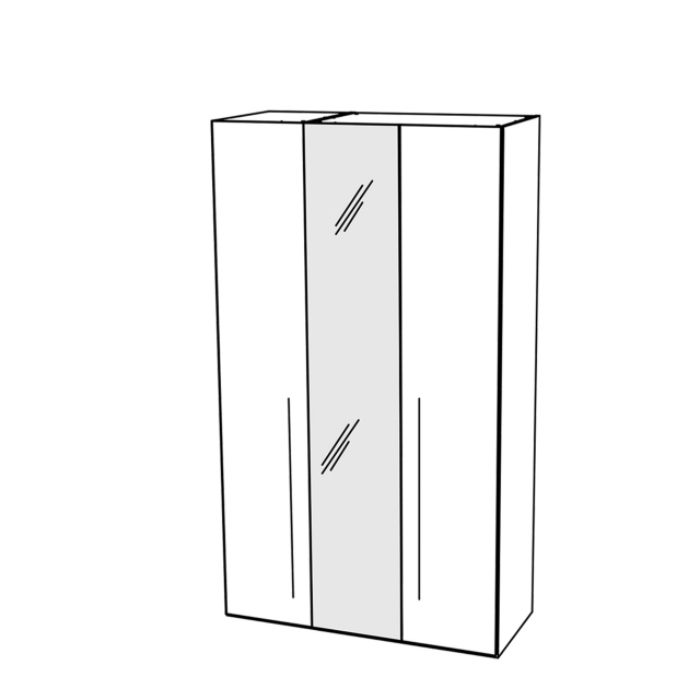 Treviso - Wardrobe 3 Doors with 1 Glass Door Silver Gey