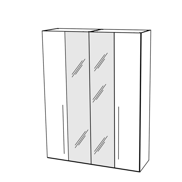 Treviso - Wardrobe 4 Doors with 2 Glass Doors Silver Grey