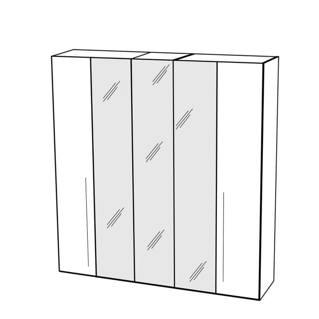 Treviso - Wardrobe 5 Doors with 3 Glass Doors Silver Grey
