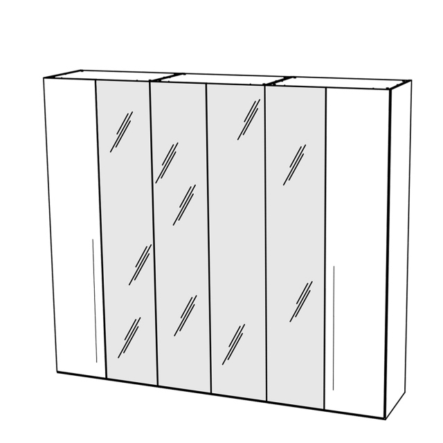 Treviso - Wardrobe 6 Doors with 4 Glass Doors Silver Grey