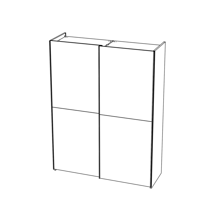 Treviso - Wardrobe 2 Wooden Sliding Doors Silver Grey
