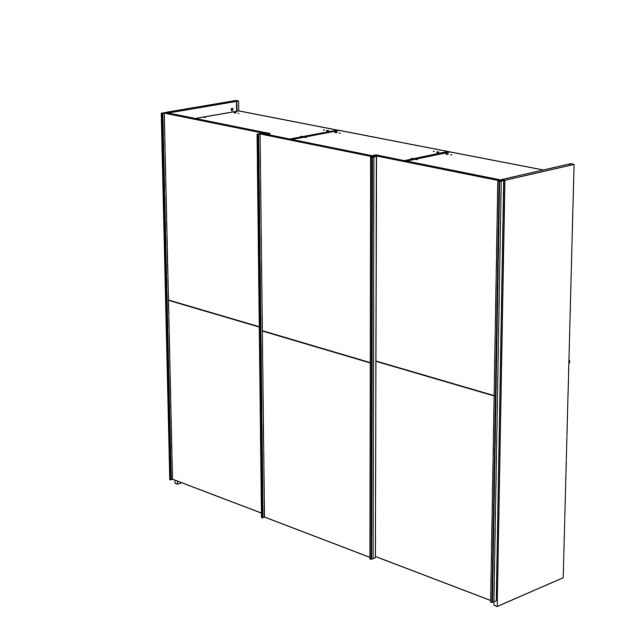 Treviso - Wardrobe 3 Wooden Sliding Doors Silver Grey