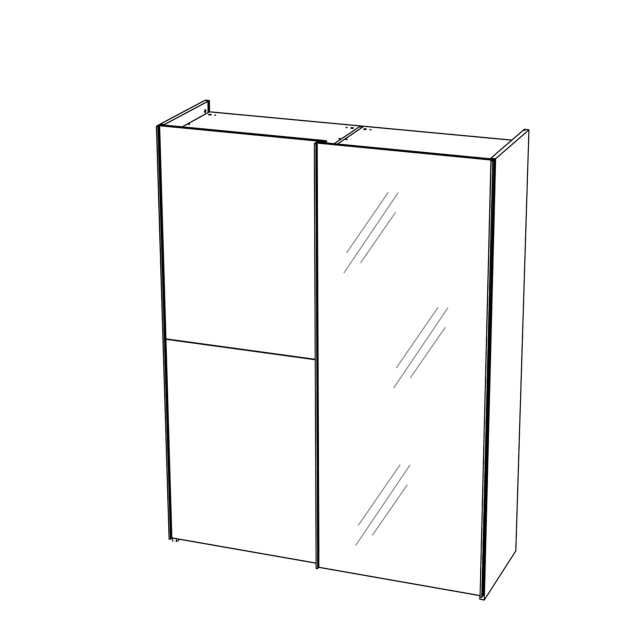 Treviso - Wardrobe 2 Door Sliding with 1 Glass Door Silver Grey