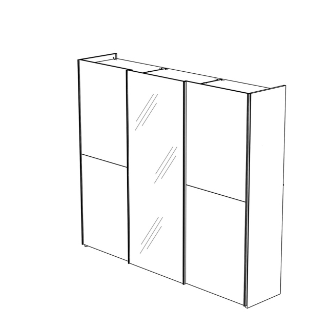 Treviso - Wardrobe 3 Door Sliding with 1 Glass Door Silver Grey