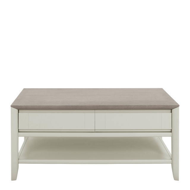 Bremen - Coffee Table With 1 Drawer In Grey Washed Oak With Soft Grey Finish