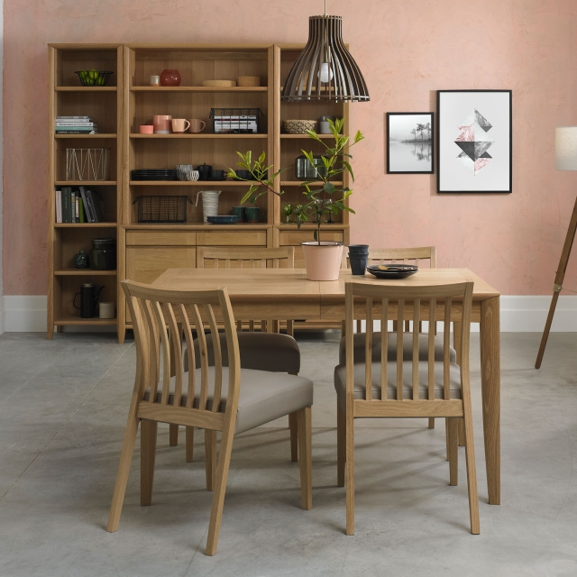 Bremen - 4-6 Extending Dining Table In Oak Finish & 4 Low Slat Back Chairs In Black Gold Fabric