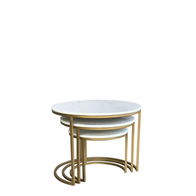 Surat - Brass And Marble Nest Of 3 Tables