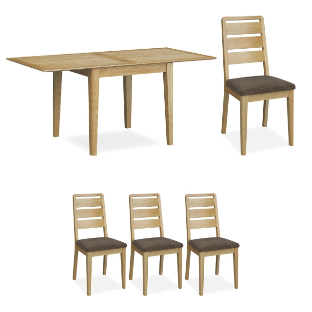 Kenwood - 85cm Flip Top Dining Table With 4 Ladder Back Dining Chairs